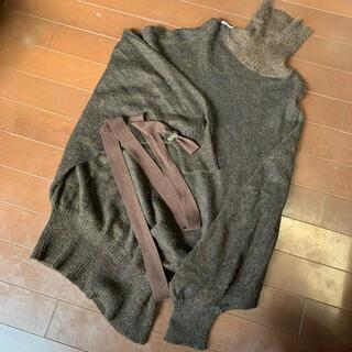 アントニオベラルディ(ANTONIO BERARDI)のBERARDI ブラウンニットワンピース チュニック セーター(ニット/セーター)