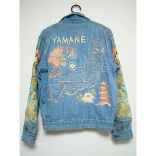 エビス(EVISU)のYAMANEヤマネドラゴン鯉金太郎家紋刺繍デニムジーンズGスカジャンジャケット(Gジャン/デニムジャケット)