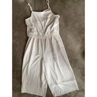 マジェスティックレゴン(MAJESTIC LEGON)の春服SALE ホワイト 白オーバーオール サロペット オールインワンセットアップ(オールインワン)