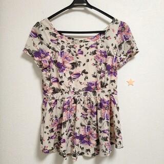 グレイル(GRL)のdazzlin 紫 花柄 ペプラムトップス(チュニック)