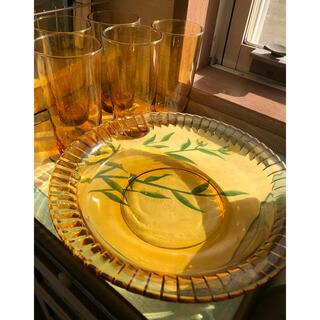 昭和レトロ アンバーガラスセット6点 飴色、琥珀色(ガラス)