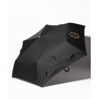 メゾンドフルール(Maison de FLEUR)のメゾンドフルール サテンリボン折りたたみ傘 ブラック(傘)