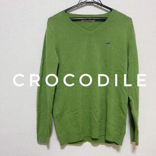 クロコダイル(Crocodile)の値引き❗️❗️クロコダイル グリーンニット Vネック セーター(ニット/セーター)