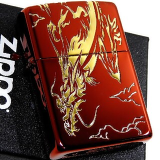 ジッポー(ZIPPO)の送料無料☆zippo☆3面加工☆金龍☆レッド☆ジッポ(タバコグッズ)