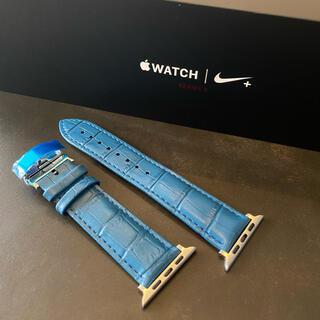 Apple Watch - 【バックルタイプ】ブルー レザー クロコダイル アップルウォッチ バンド ベルト