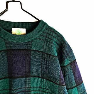 ジェイプレス(J.PRESS)の古着 ウール チェック柄 ニットセーター 緑×黒×紺 L 日本製(ニット/セーター)