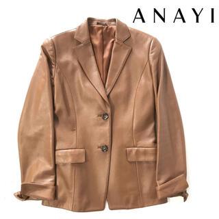 アナイ(ANAYI)の美品ANAYI/アナイ✳︎茶色羊革レザーテーラージャケットライダースレディース(レザージャケット)
