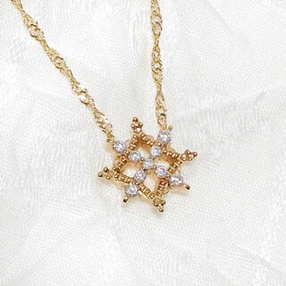 アガット(agete)のagete アガット 透かし ダイヤモンド  0.07ct ネックレス K10(ネックレス)