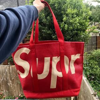 Supreme - supreme シュプリーム ロゴ トートバッグ raffia tote