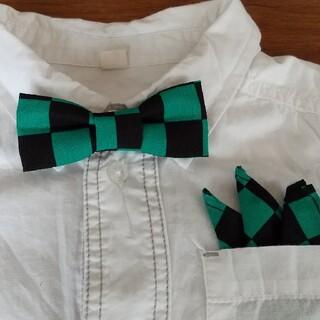 ハンドメイド 蝶ネクタイ ポケットテーフ 2点セット 市松模様   (ファッション雑貨)