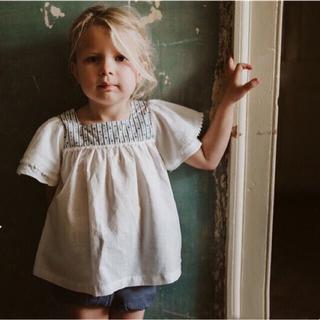 ボンポワン(Bonpoint)のlittle cotton clothes ブラウス ホワイト 2Y 3Y(ブラウス)