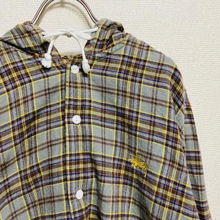 ステューシー(STUSSY)の一点物 STÜSSY ステューシー フード付き 刺繍ロゴ チェック ネルシャツ(シャツ)