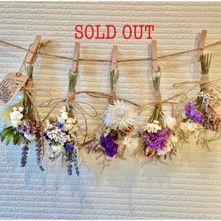 お花たっぷりドライフラワー スワッグ ガーランド❁128紫ラベンダー白 花束♪(ドライフラワー)