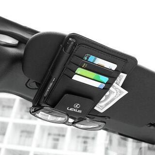レクサスLEXUS-BLACKブラック 多機能サンバイザー 収納カードホルダー(車内アクセサリ)
