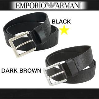 エンポリオアルマーニ(Emporio Armani)のEMPORIO ARMANI エンポリオ アルマーニ 牛革 ベルト ブラック(ベルト)