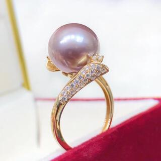 淡水真珠 天然 パープル パール  リング 11~12mmk18(リング(指輪))
