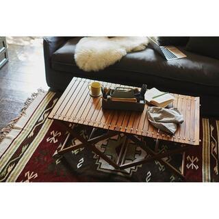 ★新品/在庫限り★ 天然木(チーク)仕様 ラッカー塗装 折りたたみテーブル(ローテーブル)