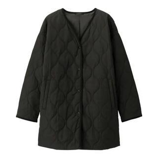 ジーユー(GU)のGU 中綿 キルティング コート ジャケット ブラック XL(ミリタリージャケット)