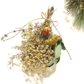 [お値下げ]落ち着いた香りの春色スワッグ 28cm アンティーク自然 素材 L(ドライフラワー)