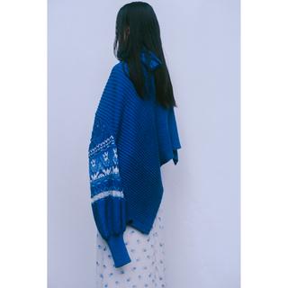 マメ(mame)のマメ Cotton Nordic Knit Cardigan blue(カーディガン)