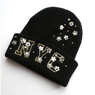 ユナイテッドアローズ(UNITED ARROWS)の《未使用》フラワー付き ニット帽(ニット帽/ビーニー)