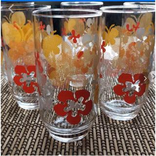 トウヨウササキガラス(東洋佐々木ガラス)の昭和レトロコップ  6個セット(グラス/カップ)