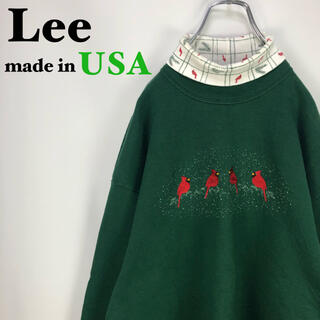 リー(Lee)の【USA製】Lee リー☆アニマル 鳥 刺繍 タートルネックスウェットトレーナー(トレーナー/スウェット)