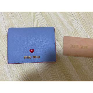 ミュウミュウ(miumiu)のミュウミュウ miu miu 三つ折り財布 ブルー 5MV204(その他)