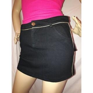 アナップ(ANAP)のANAP ゴールドライン スウェット ミニ スカート 黒(ミニスカート)
