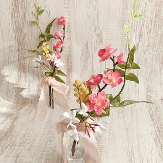 ひな祭り飾り 桃の節句飾り 桃の花 ミモザ ジャスミン 造花 初節句 雛人形飾り(その他)