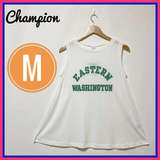 チャンピオン(Champion)の新品未使用品美品✨チャンピオン タンクトップ カットソー✨白 M 緑 英字ロゴ(タンクトップ)