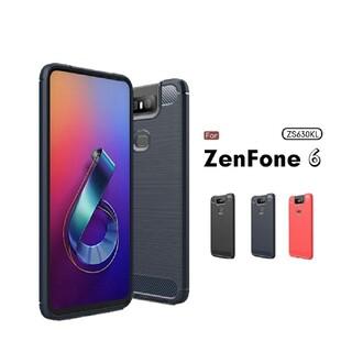 エイスース(ASUS)のZenFone 6 (ZS630KL) ケース カバー 炭素繊維調 TPUケース(保護フィルム)