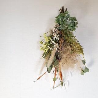 スモークツリーとミモザのナチュラルドライフラワースワッグ 花束 ブーケ(ドライフラワー)