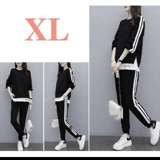 XL セットアップ 黒 レディース ブラック 上下 ジャージ 韓国 大きめ 人気(Tシャツ(長袖/七分))
