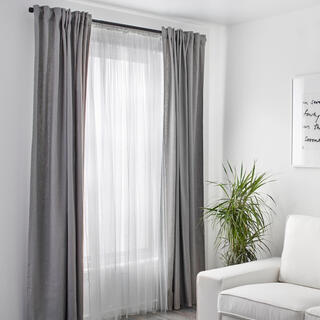 イケア(IKEA)のイケヤホワイトメッシュレースカーテン新品未使用(カーテン)