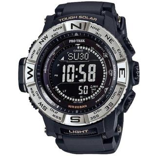 カシオ(CASIO)のカシオ プロトレック シルバーベゼル 電波ソーラーモデル 腕時計 ブラック(腕時計(デジタル))