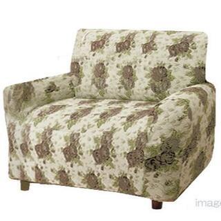 肘あり2WAYソファーカバー 縦横伸縮 座椅子 1人掛用 ローズ柄 D1425(ソファカバー)