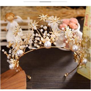 アンクルージュ(Ank Rouge)の星ダイヤモンド真珠 金色カチューシャ 花嫁 結婚式 ゆめかわ(カチューシャ)