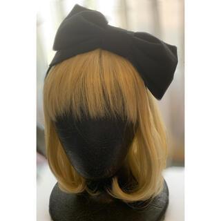 アンジェリックプリティー(Angelic Pretty)のREPARADE グログランリボンカチューシャ 黒(ヘアアクセサリー)