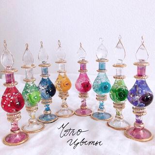 エジプシャングラス S「ビビットローズ」エジプト香水瓶 ハーバリウム(その他)
