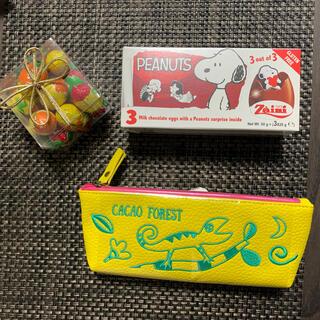 カルディ(KALDI)のKALDI スヌーピーチョコエッグとエッグチョコボックスとトカゲペンケースセット(菓子/デザート)