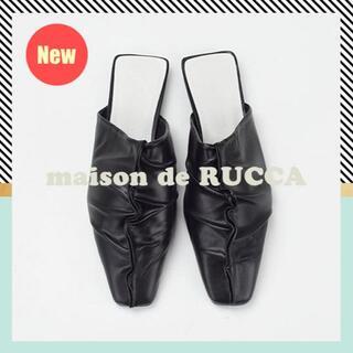 ジーユー(GU)のnew|ギャザーデザインミュール【35-39】黒 flat mule 新作(ミュール)