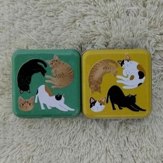 カルディ(KALDI)のカルディ*ネコミニ缶(グリーン・イエロー)2種セット*ニャンティー3p 2セット(菓子/デザート)