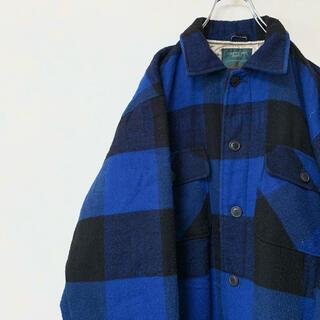 フランネル シャツジャケット 90年代 古着 チェック柄 中綿入り レア(ブルゾン)