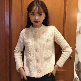 《即納》classic pearl button knit jacket(カーディガン)