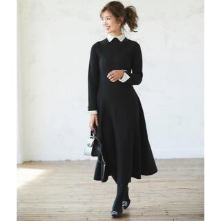 ドゥロワー(Drawer)のseventen 襟付きニットドレス ワンピース ブラック S(ひざ丈ワンピース)