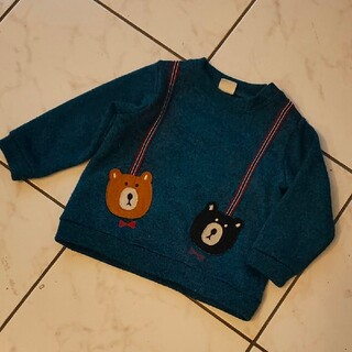 アカチャンホンポ(アカチャンホンポ)の赤ちゃん本舗 裏起毛 トレーナー グリーン サスペンダー くまさん 90(Tシャツ/カットソー)