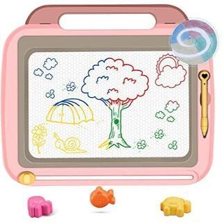 おえかきボード 大画面 3個マグネットスタンプ付属 4色知育玩具 (ピンク)(クレヨン/パステル)