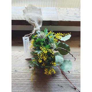 2021 mimosa 2 ミモザと季節の花の小さな花束(ドライフラワー)