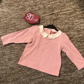 プティマイン(petit main)のプティマイン 80㎝ くすみピンクが春服にピッタリ!丸エリロンT 綿100%(シャツ/カットソー)